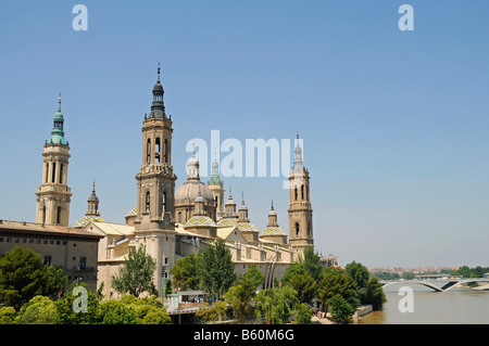 Basilika de Nuestra Senora del Pilar, Ebro River, Cathedral, Zaragoza, Saragossa, Aragon, Spain, Europe - Stock Photo