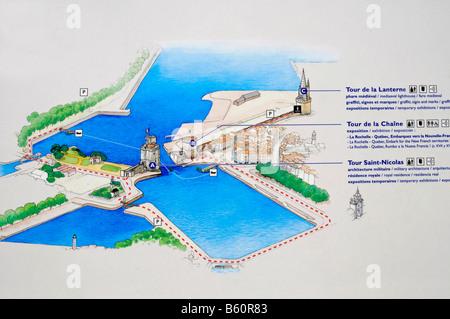 Plan, overview, Tour Saint Nicolas, Tour de la Chaine, Tour de la Lanterne, towers, harbour, La Rochelle, Poitou - Stock Photo