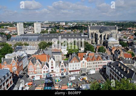 Musee des Beaux Arts, museum of fine arts, Saint Vaast cathedral, city view, overview, Arras, Nord Pas de Calais, - Stock Photo