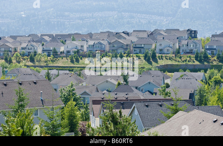 Rooftops of a housing development in the Issaquah Highlands WA - Stock Photo