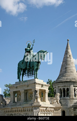 Statue of King Stephen I of Hungary in front of Halászbástya or Fisherman's Bastion, Budapest, Hungary, Europe - Stock Photo