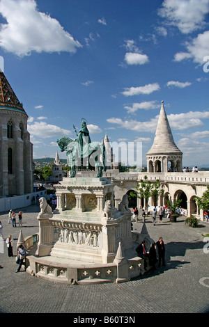 Statue of Stephen I of Hungary in front of the Fisherman's Bastion, Budapest, Hungary, Europa - Stock Photo