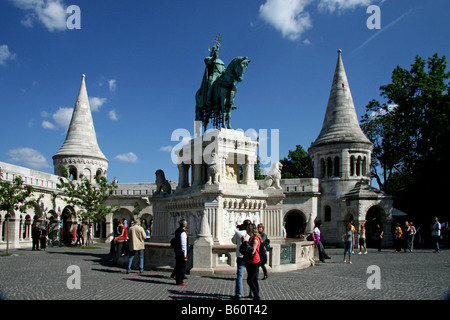 Statue of King Stephen I of Hungary in front of Fisherman's Bastion, Budapest, Hungary, Europe - Stock Photo
