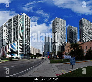 Brickell 500 and Icon Towers in Miami - Stock Photo