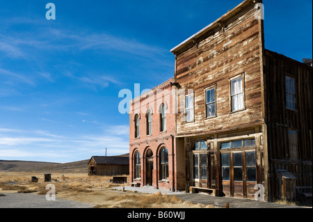 The Dechambeau Hotel & Post Office, Main Street, 19thC ghost town of Bodie, near Bridgepor,t Sierra Nevada Mountains, - Stock Photo