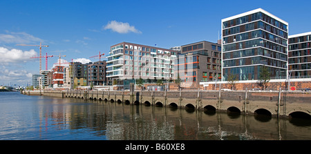 New office and residential buildings of Kaiserkai, HafenCity, Hamburg - Stock Photo