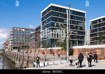 New office and residential buildings of Kaiserkai, HafenCity, Hamburg - Stock Photo