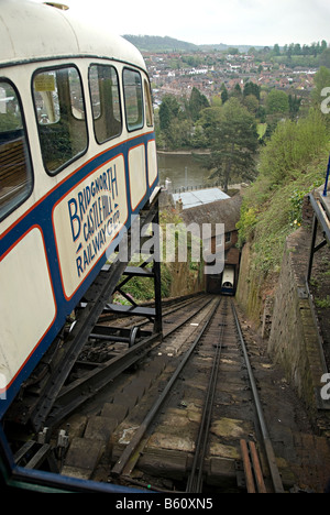 castle hill cable railway which leads up to the the town of bridgenorth - Stock Photo