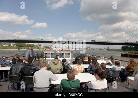Passengers on a harbour tour, Rhine River, Duisburg, North Rhine-Westphalia - Stock Photo