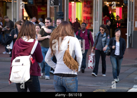 Two female shoppers in downtown San Francisco - Stock Photo