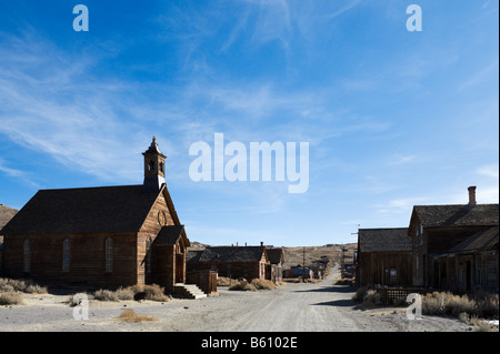 Green Street in the 19thC gold mining ghost town of Bodie, near Bridgeport, Sierra Nevada Mountains, California - Stock Photo