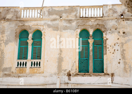 Historic centre, facade, Massawa, Red Sea, Eritrea, Horn of Africa, East Africa - Stock Photo