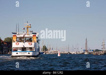 Liner on the Kiel inner fjord, Kiel, Baltic Sea, Northern Germany, Europe - Stock Photo