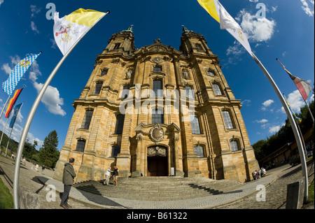 Baroque pilgrim church, Vierzehnheiligen Basilica, Upper Franconia, Bavaria - Stock Photo