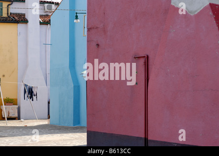 Colourfully painted houses on Burano, an island in the Venetian Lagoon, Italy, Europe - Stock Photo