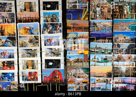 Postcards, sales booth on Piazza San Marco Square, Venice, Veneto, Italy, Europe - Stock Photo