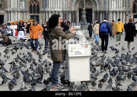 Sales booth for pigeon food, St. Mark's Square, Venice, Veneto, Italy, Europe - Stock Photo