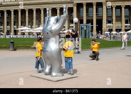 UNITED BUDDY BEARS, Bear Parade in the Schlossplatz Square, Stuttgart 2008, Stuttgart, Baden-Wuerttemberg - Stock Photo