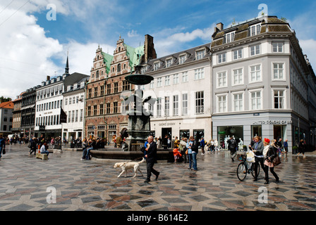 Gammel Torv, the Old Square, Stroget pedestrian street, Copenhagen, Denmark, Scandinavia, Europe - Stock Photo