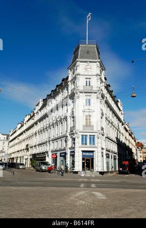 Historic bank at Kongens Nytorv or King's New Square, Copenhagen, Denmark, Scandinavia, Europe - Stock Photo