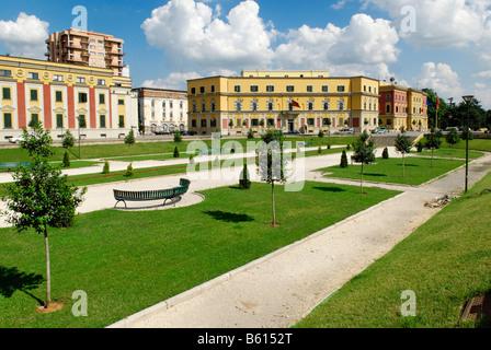 Skanderbeg Square in Tirana, Albania, Europe - Stock Photo