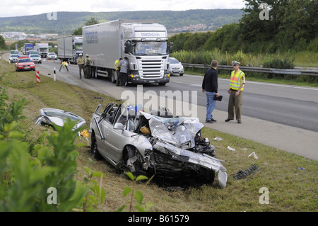 Car wreck, road accident on a freeway, Altingen, Baden-Wuerttemberg - Stock Photo