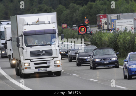 Traffic jam after a road accident on a freeway, Altingen, Baden-Wuerttemberg - Stock Photo
