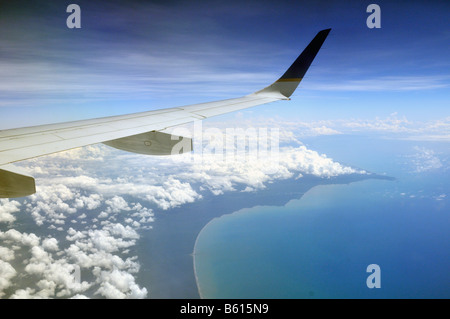 View from an airplane of a Caribbean coast, Nicaragua, Central America - Stock Photo