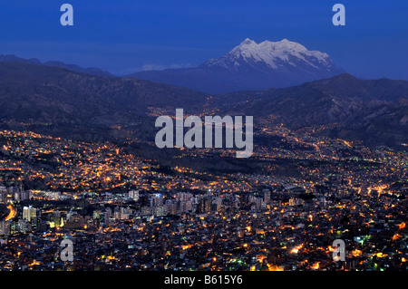 View over La Paz towards the glaciers on the Illimani mountain, 6439m, Bolivia, South America - Stock Photo