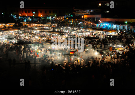 Cookshops at night on the Djemma el-Fna Square, Marrakech, Morocco, Africa - Stock Photo