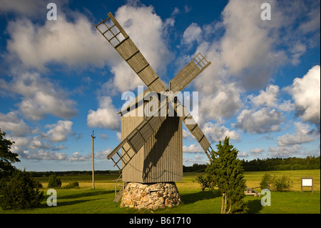 Windmill, Harju, Hiiumaa, Baltic Sea island, Estonia, Baltic States, Northeast Europe - Stock Photo