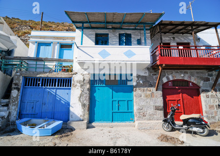 Colourful houses of the fishing village of Klima on Milos Island, Cyclades Island Group, Greece, Europe - Stock Photo