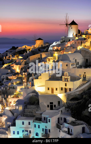 Part of the town of Oia, Ia, at sunset, Santorini, Cyclades, Greece, Europe - Stock Photo
