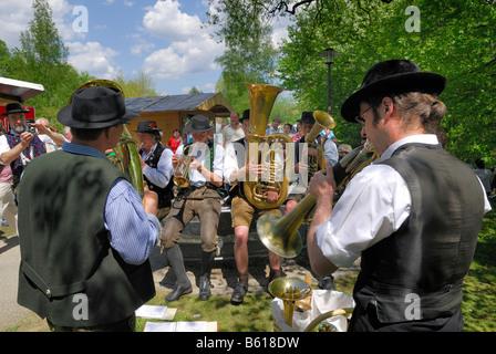 Group of musicians at the folk music festival 'Drumherum' in Regen, Lower Bavaria - Stock Photo
