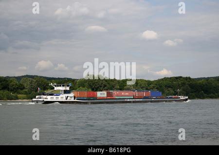 Container ship General on the Rhine River near Bonn, North Rhine-Westphalia - Stock Photo