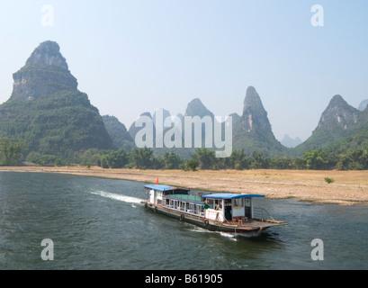 Li River Cruise Guilin and Yangshuo Guangxi China - Stock Photo
