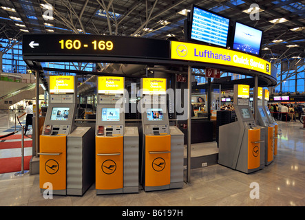 Lufthansa check-in terminals and counters, Stuttgart Airport, Baden-Wuerttemberg - Stock Photo