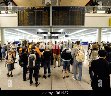 Passengers waiting in queues outside security controls, Stuttgart Airport, Baden-Wuerttemberg - Stock Photo