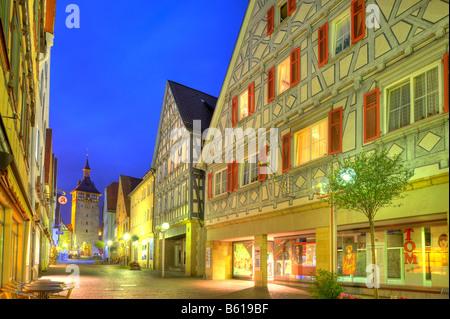 Row of houses along Marktstrasse with Hinterer Torturm gate tower, Marbach on the Neckar River, Baden-Wuerttemberg - Stock Photo