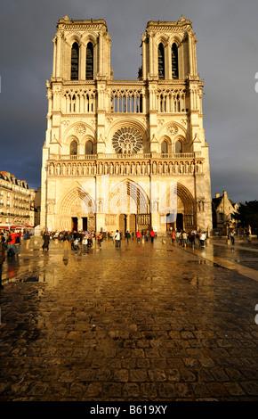 Notre Dame de Paris with main portal, west view, Paris, France, Europe - Stock Photo
