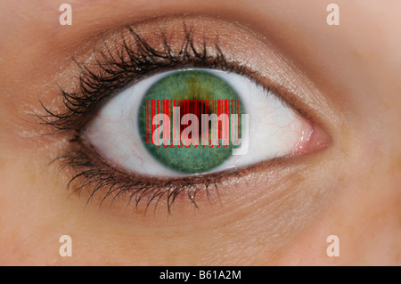 Detail picture of an eye with barcode EAN, European Article Number, on the iris, symbolic picture representing glass - Stock Photo