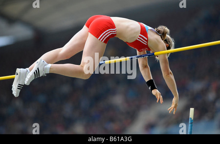 Silke SPIEGELBURG, GER, winner of the pole vault competition at the IAAF 2008 World Athletics Final for track and - Stock Photo