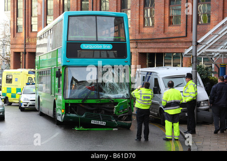 Emergency services at the scene of a Road Traffic Accident involving a Nottingham City Transport double decker bus. - Stock Photo