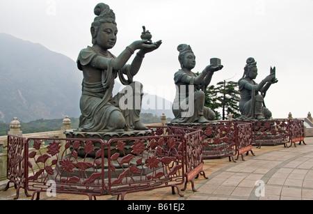Statues at Big Buddha Po Lin Monastery Lantau Island Hong Kong - Stock Photo