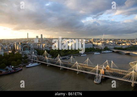 View from the London Eye of the River Thames and the city of London England - Stock Photo