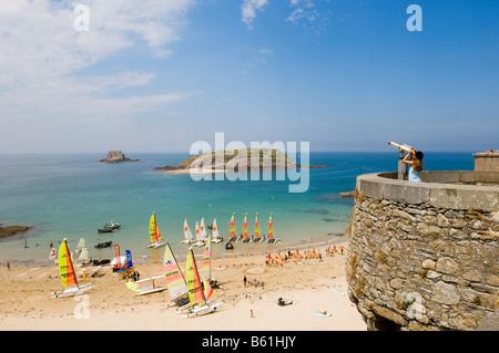 View over the St.Malo beach, Brittany, France, Europe - Stock Photo
