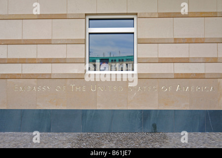 Embassy of the United States of America in writing on the new American embassy near the Brandenburg Gate in Berlin - Stock Photo
