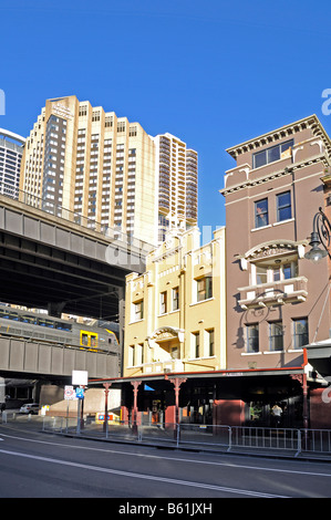 Old and new buildings in the historic quarter The Rocks, Sydney, Australia - Stock Photo