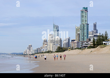 Surfers Paradise skyline and beach, Queensland, Gold Coast, Australia - Stock Photo