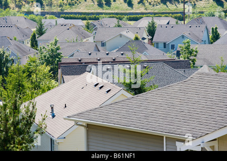 Rooftops of a housing development in the Issaquah Highlands W ashington United States - Stock Photo